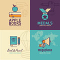 Education flat Icons, apple on books icon, medal icon, book and pencil icon, megaphone icon Royalty Free Stock Photo