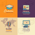 Education Flat Icons, graduation cap, teacher, globe with world map, online education icon