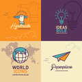 Education flat Icons, hand holding pencil icon, light bulb icon, world icon, paper plane icon Royalty Free Stock Photo