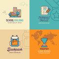Education flat Icons, school building icon, notepad pencil icon, back pack icon