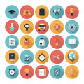 Education flat icons set modern vector collection with long shadow in stylish colors on high school and colledge with teaching and Royalty Free Stock Images