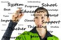 Education flow chart young student writing on virtual screen Royalty Free Stock Photos
