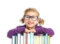 Education - funny girl with books. Royalty Free Stock Photos