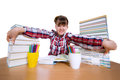 Education funny girl with books studio shoot Royalty Free Stock Photos