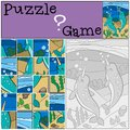 Education game: Puzzle. Two little cute narwhals smile.
