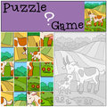 Education games for kids. Puzzle. Mother goat with her baby. Royalty Free Stock Photo