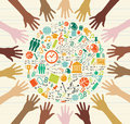 Vzdělání globální ikony člověk ruky