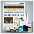 Education And Graduation Newspaper Lay Out With Pencil, Glasses, Royalty Free Stock Photo