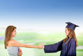 Education handshake Stock Photo