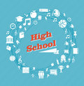 Education high school icons back to global blue background vector layered for easy personalization Royalty Free Stock Photos