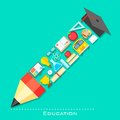Education icon in shape of Pencil Stock Image