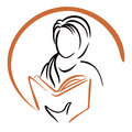Education icon symbol of women learning from book Royalty Free Stock Photography