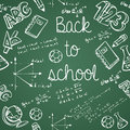 Education icons back to school green chalkboard seamless pattern background vector layered for easy editing Royalty Free Stock Images