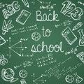 Education icons back to school green chalkboard seamless pattern
