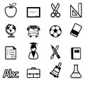 Education icons black study evaluation tools Stock Photography
