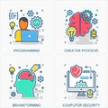 Education icons and concepts illustrations