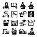 Education icons elegant vector and school set Stock Photography