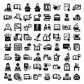 Education icons elegant vector and school set Royalty Free Stock Images