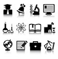 Education icons set of black on a white background Royalty Free Stock Photography