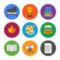 Education icons set collection of colorful in modern flat design style on school and theme isolated on white background Royalty Free Stock Image