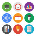 Education icons set collection of colorful vector in modern flat design style on knowledge and theme isolated on white background Stock Photo