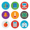 Education icons set collection of colorful vector in modern flat design style on learning and theme isolated on white background Stock Image