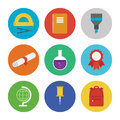 Education icons set collection of colorful vector in modern flat design style on and learning theme isolated on white background Royalty Free Stock Photo