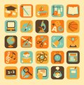 Education icons set of colorful school and Stock Images