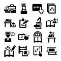 Education icons set elegant vector and school Royalty Free Stock Photography