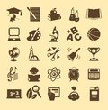 Education icons set of monochrome school and Stock Images
