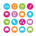Education icons tools and school in colorful round buttons Stock Images