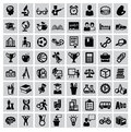Education icons vector black set on gray Royalty Free Stock Photo