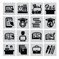 Education icons vector black set on gray Stock Photography