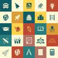 Education icons vector web and mobile school items Royalty Free Stock Photo