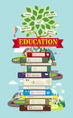 Education infographic design elements with tree and books Royalty Free Stock Photo