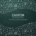 Education infographic with hand drawn doodle school icons