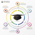Education infographic template. Academic cap. Vector
