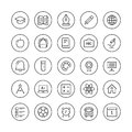 Education items thin line icons and learning flat set modern vector collection of high school objects and college teaching symbols Stock Photos