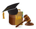 Education Judge lawsuit hammer on law book Royalty Free Stock Photo