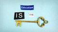 Education key is the text with antique Royalty Free Stock Image