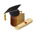 Education knowledge graduation illustration design background over white Stock Images