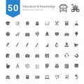Education and Knowledge Icon Set. 50 Solid Vector Icons.