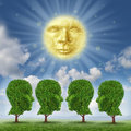 Education leadership and enlightenment concept with a glowing sun as a face made of gears and cogs feeding growing green trees Stock Images