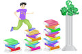 Education leads to wealh vector illustration of a character jumping from increasingly taller stacks of books symbolizing Royalty Free Stock Photos