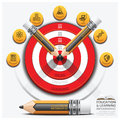 Education And Learning Step Infographic With Pencil Dartboard Su