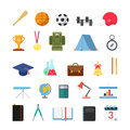 Education lifestyle sports camp infographic icons flat creative style modern school college icon set bat ball cup trophy medal Stock Photos