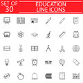 Education line icon set, School sign collection