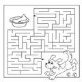 Education Maze or Labyrinth Game for Preschool Children. Puzzle. Coloring Page Outline Of dog with bone. Coloring book for kids