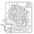 Education Maze or Labyrinth Game for Preschool Children. Puzzle. Tangled Road.