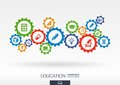 Education mechanism concept. Abstract background with connected gears and icons for elearning, knowledge concepts